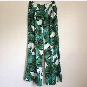 Pants - Tropical Palm Leaf Print Pants